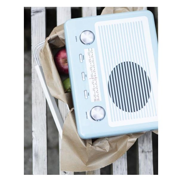 Dåse/madkasse - Radio - blå - 19*26 cm