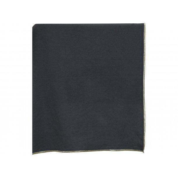 Bordløber - antiksort hør m/guldkant - 45*150 cm