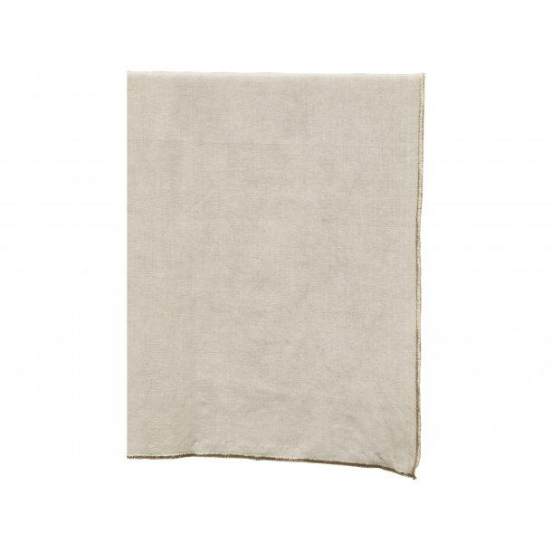 Bordløber - cremefarvet hør m/guldkant - 45*150 cm