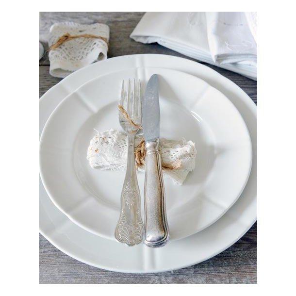 Frokosttallerken - hvid porcelæn - ø21 cm
