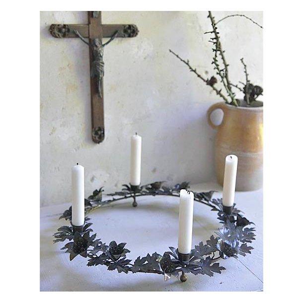 Adventskrans t/kronelys - antik mocca - ø41 cm