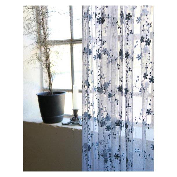 Florlet tyl m/blomster - lys vintagegrå - 4 meter