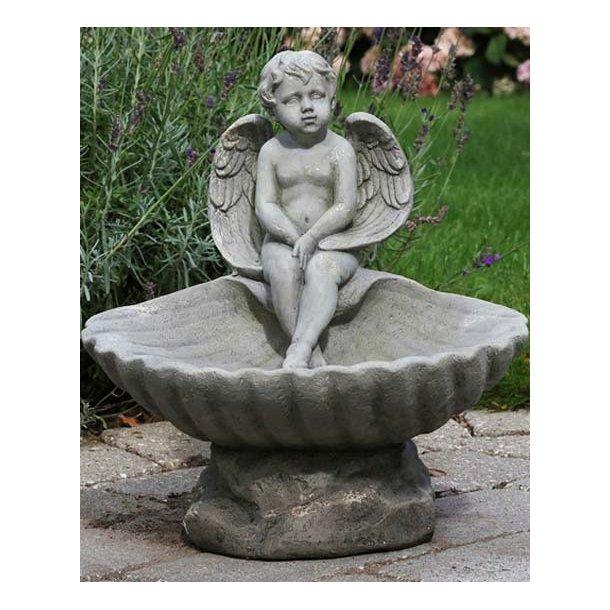 Fuglebad m/engel - antik grå - 33*36 cm
