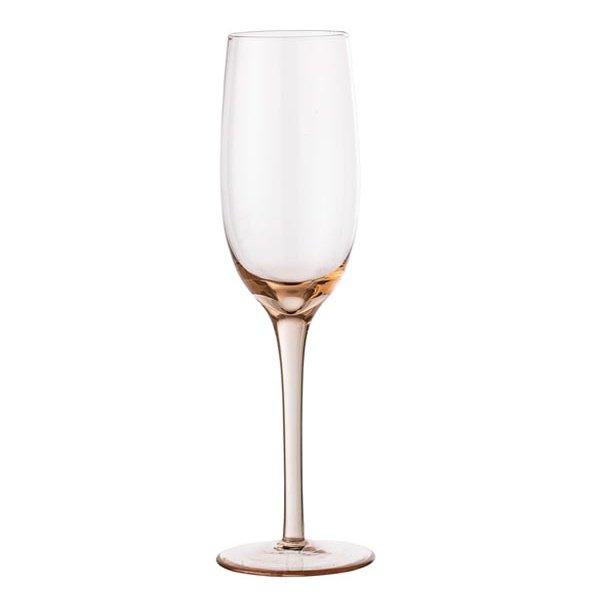 Champagneglas m/høj stilk - rosa - h22,5 cm