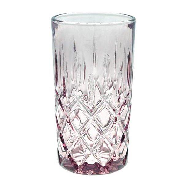 Højt glas m/harlekinmønster - blomme - h13,5 cm