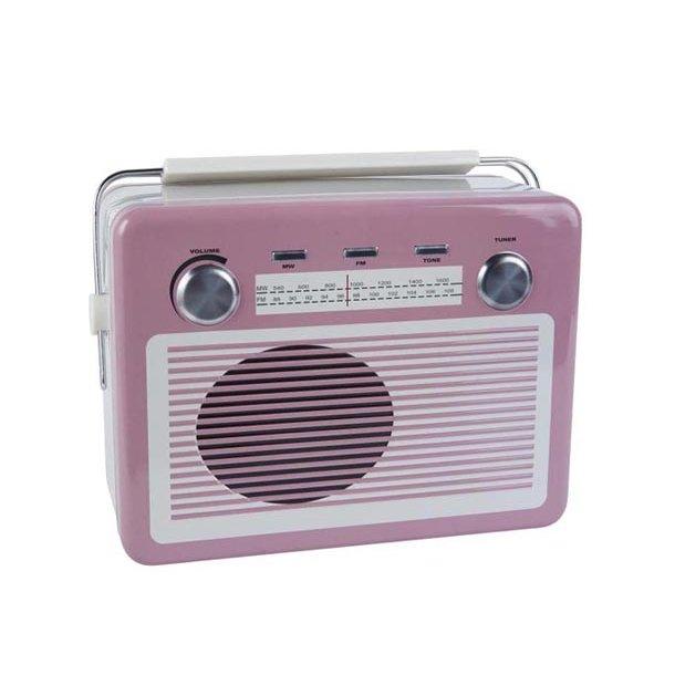 Dåse/madkasse - Radio - pink - 19*26 cm