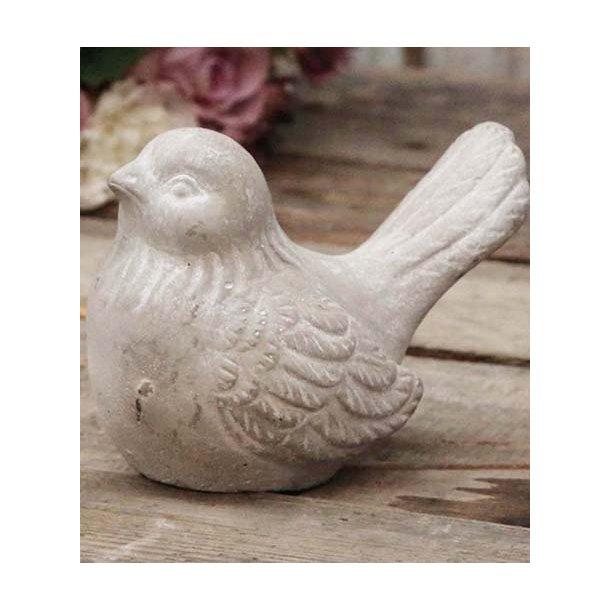 Fugl m/patina - fransk lys grå - 9*11 cm