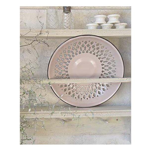 Emaljeskål m/hulmønster - rosa - ø24 cm