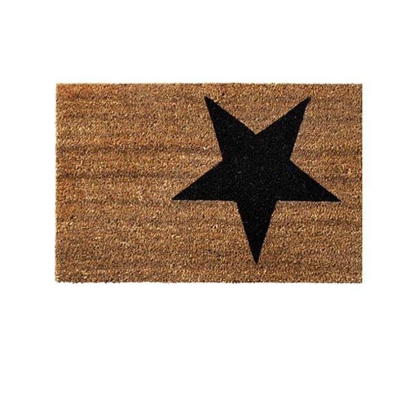 Dørmåtte - kokos - natur m/sort stjerne - 40x80 cm
