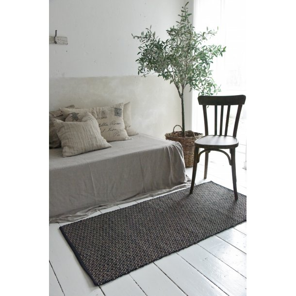Gulvtæppe sort/sand harlekinmønster - 70*140 cm